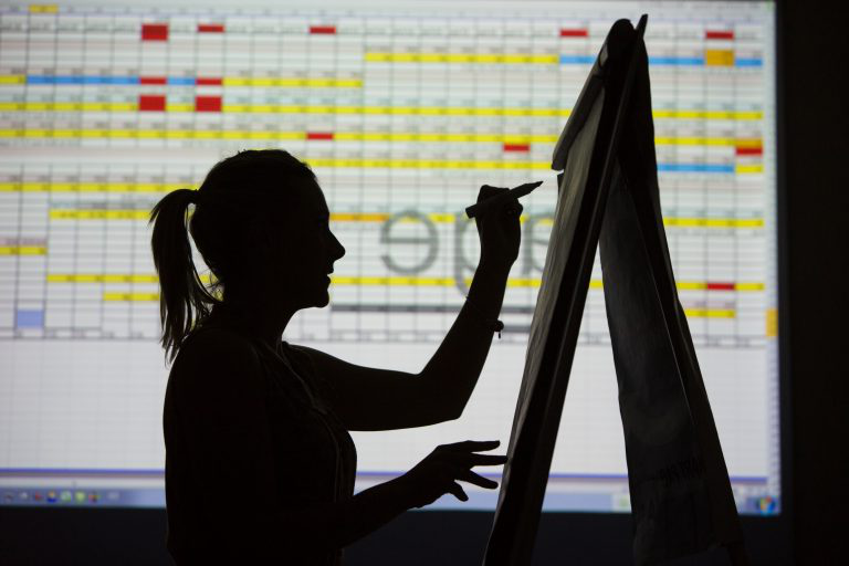 Silhouette of a woman working on a spreadsheet.