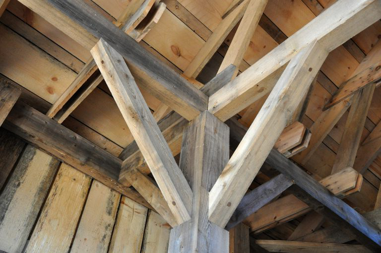 Wooden beams.